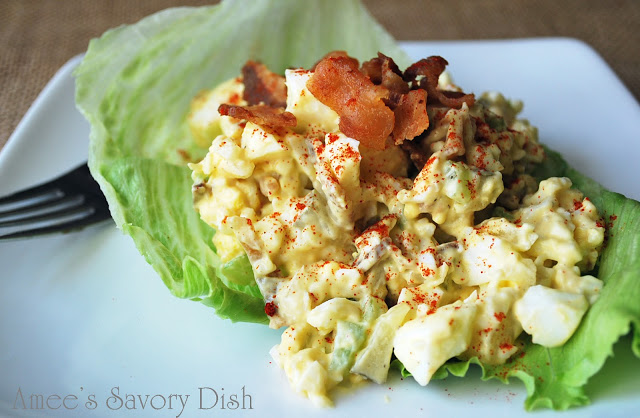 Egg salad with bacon is a paleo-friendly egg salad recipe. Enjoyed as a lettuce wrap or eaten as is, this is a delicious, quick and easy paleo-friendly lunch recipe.