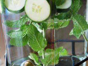 cucumber mint water in a serving jug