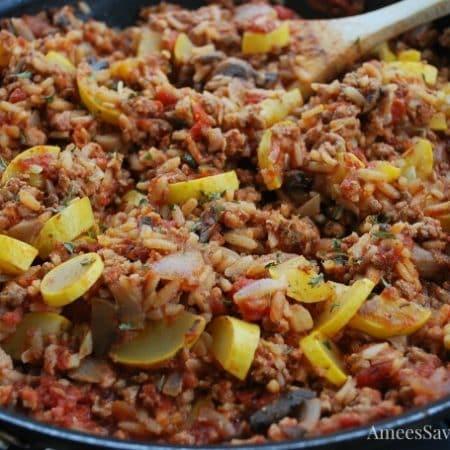 Italian Pork & Brown Rice Skillet recipe