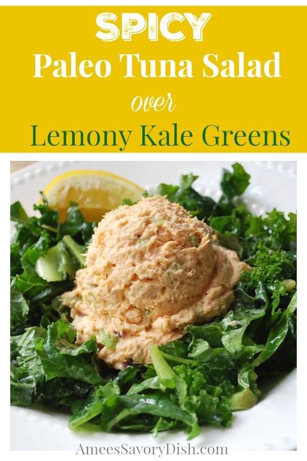 Paleo tuna saladis a nutritious option for anyone who loves tuna salad! This delicious deli salad is served over lemony kale greens for even more healthy goodness. Tuna salad without mayo just wouldn't be the same, so this paleo tuna salad recipe is made with homemade paleo mayonnaise. #paleosalad #paleotunasalad #paleolunchrecipe #paleo via @Ameecooks