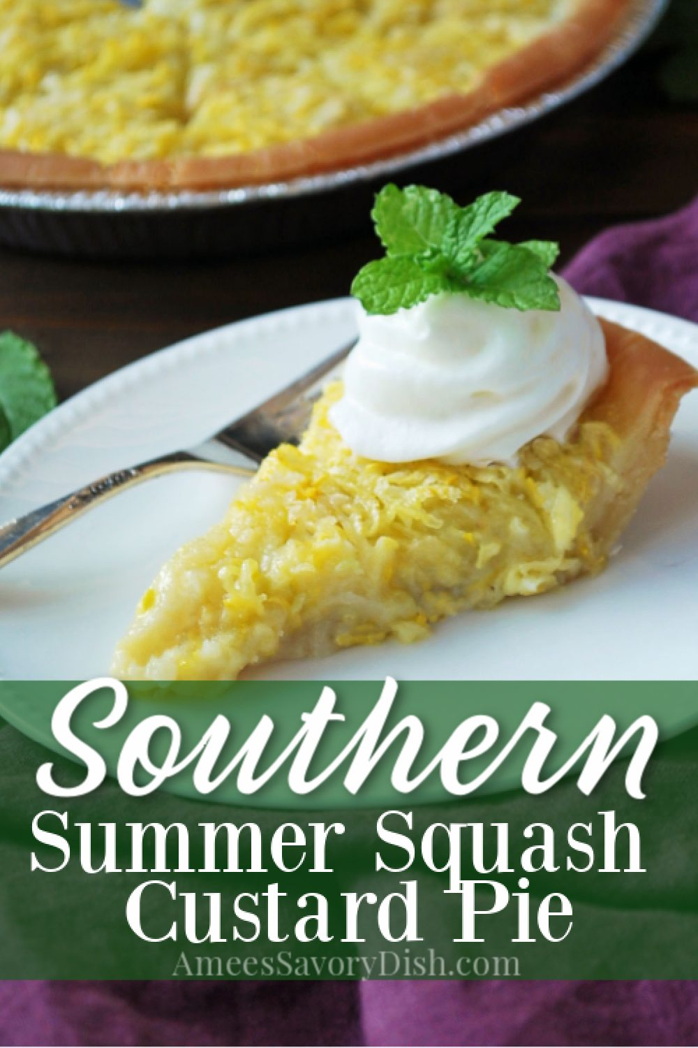 Summer squash pie a custard-based pie made with yellow squash, unsweetened coconut, eggs, butter, vanilla, and flour.  This southern summer pie recipe is sweet, creamy, and full of flavor. #summerpie #summerdessert #pierecipe #squashpie #yellowsquashpie via @Ameessavorydish