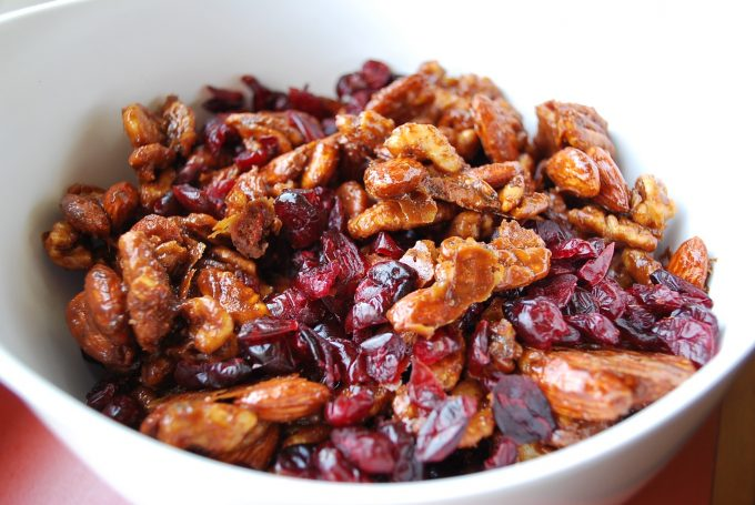Sweet and Spicy Candied Nuts bowl