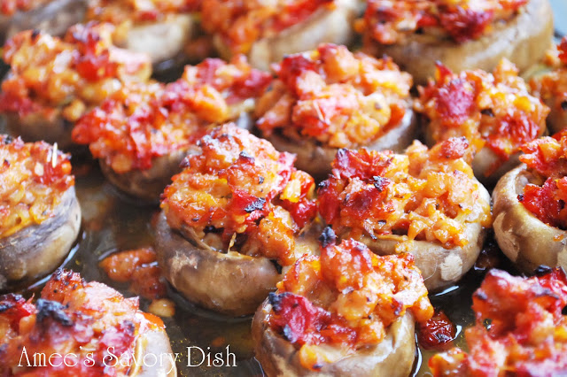 Italian Sausage and Sundried Tomato Stuffed Mushrooms