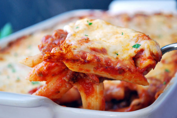 spoonful of baked mostaccioli
