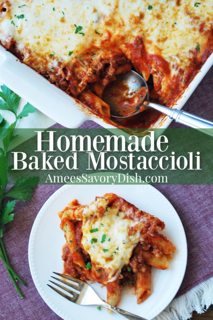 Pan of baked mostaccioli pasta with spoon and a serving on a plate with font overlay