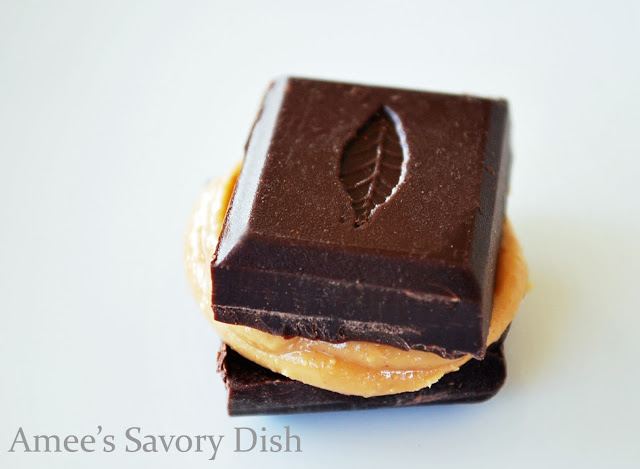 Dark chocolate from Kallari, smeared with almond butter.