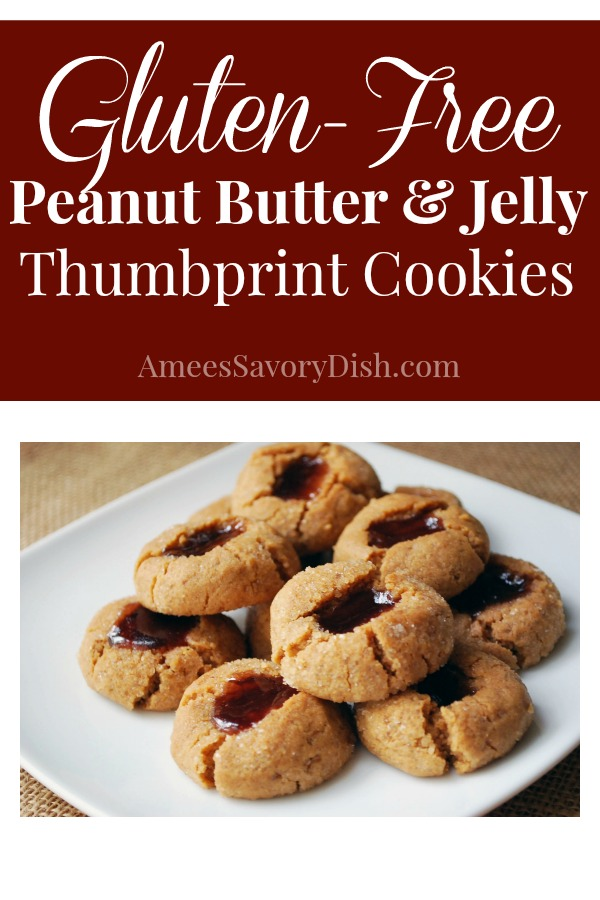 These peanut butter and jelly gluten-free thumbprint cookies are delicious, soft peanut butter cookies filled with all-fruit preserves in the center. This easy thumbprint cookies recipe uses no refined sugar, so they're a healthier sweet treat! #glutenfreethumbprintcookies #glutenfreecookies #glutenfreedesserts via @Ameecooks