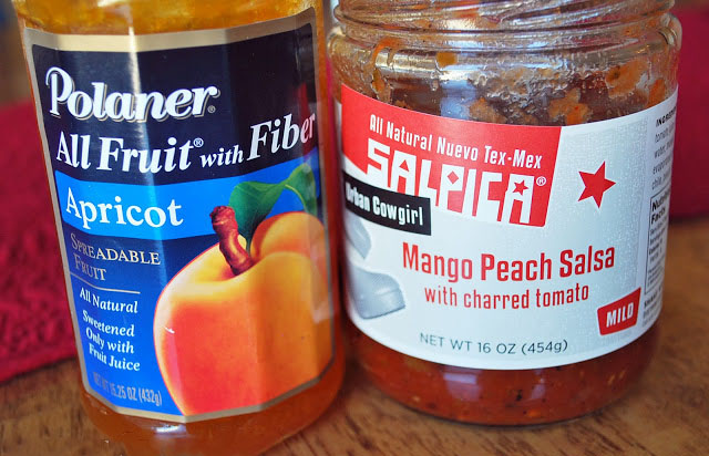 Mango peach salsa and apricot preserves for grilled chicken