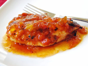 glazed grilled chicken with salsa and preserves
