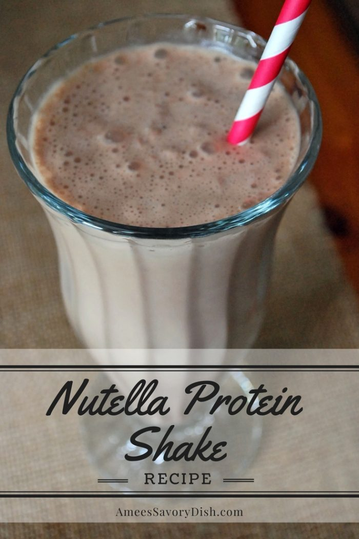 A delicious way to satisfy your Nutella cravings is to make this nutrient-dense Nutella Protein Shake recipe made with hemp seeds and hazelnuts. #proteinshake #hazelnutshake #nutellaproteinshake via @Ameessavorydish