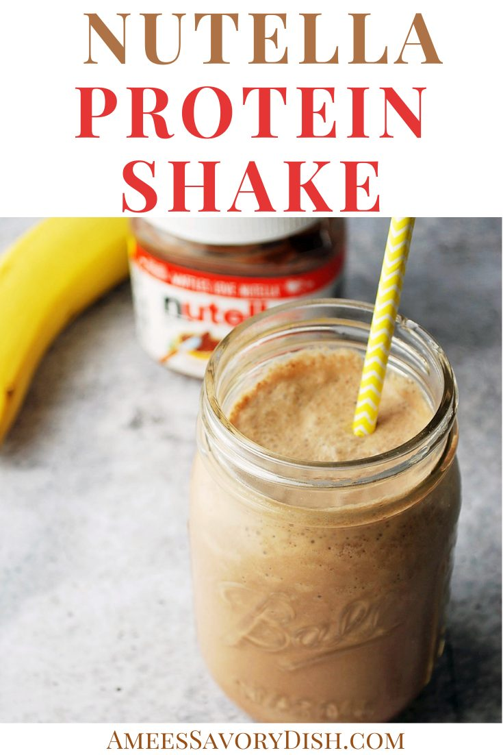 A delicious way to satisfy your Nutella cravings is to make this nutrient-dense Nutella Protein Shake recipe made with whey protein, cocoa, and lightly toasted hazelnuts. #proteinshake #hazelnutshake #nutellaproteinshake via @Ameessavorydish