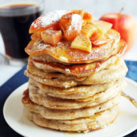 a stack of apple cinnamon protein pancakes