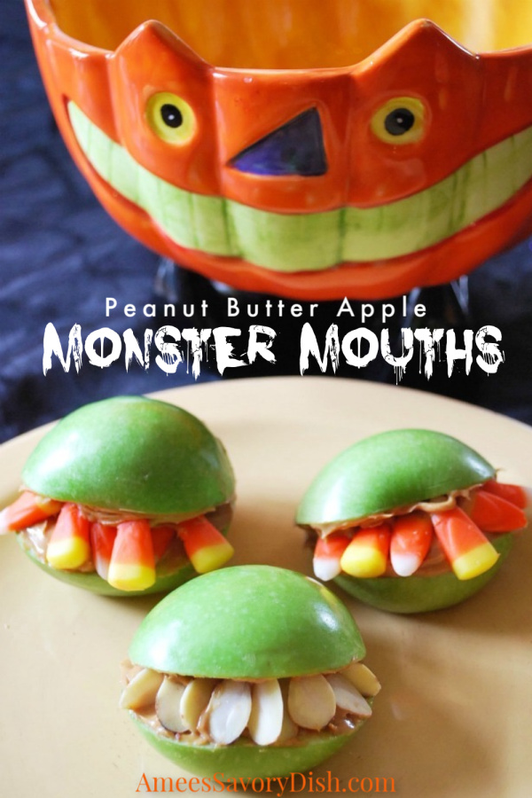 A fun healthy Halloween recipe for apple monster mouths made with apples, candy corn, peanut butter, and almonds.