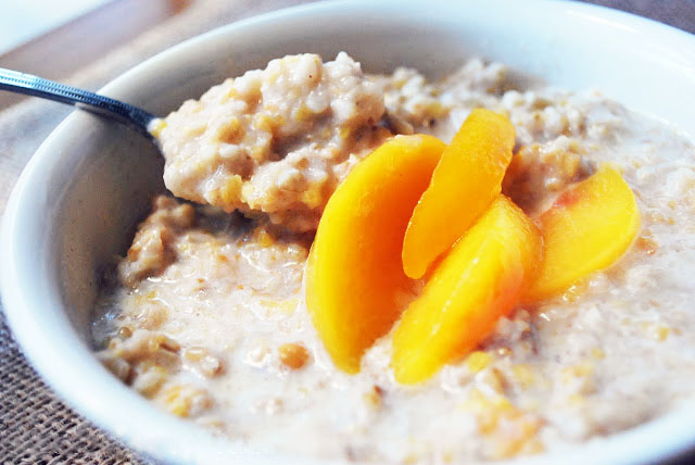 peached and cream protein oatmeal bowl