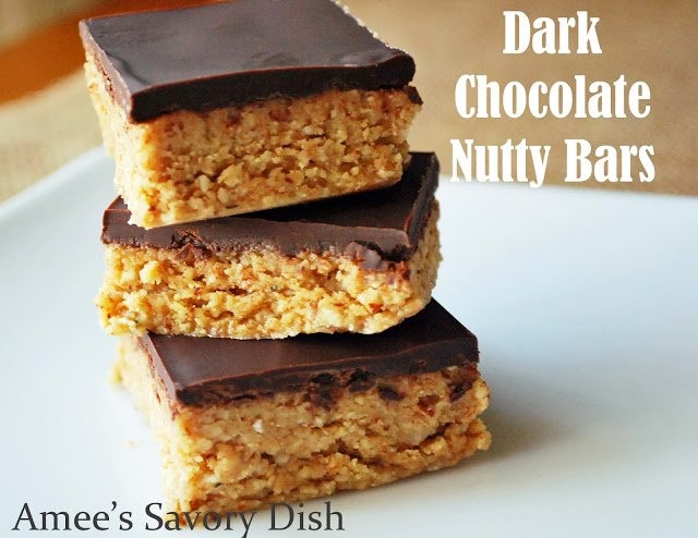 These dark chocolate nutty bars are protein-packed and a delicious way to get your good fats in for the day! They're made with whole food ingredients!