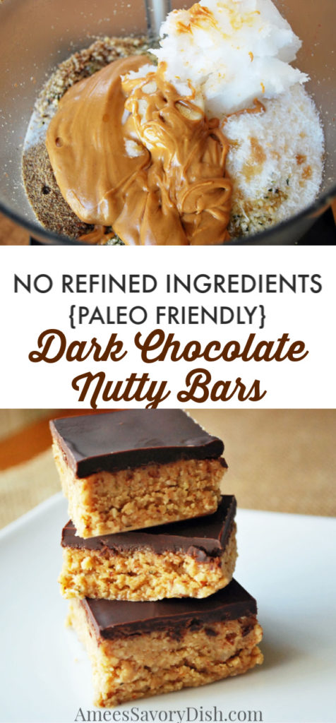 These dark chocolate nutty bars are protein-packed and a delicious way to get your good fats in for the day! They're made with whole food ingredients!  These easy no-bake bars are Paleo friendly and the perfect healthy snack or dessert.