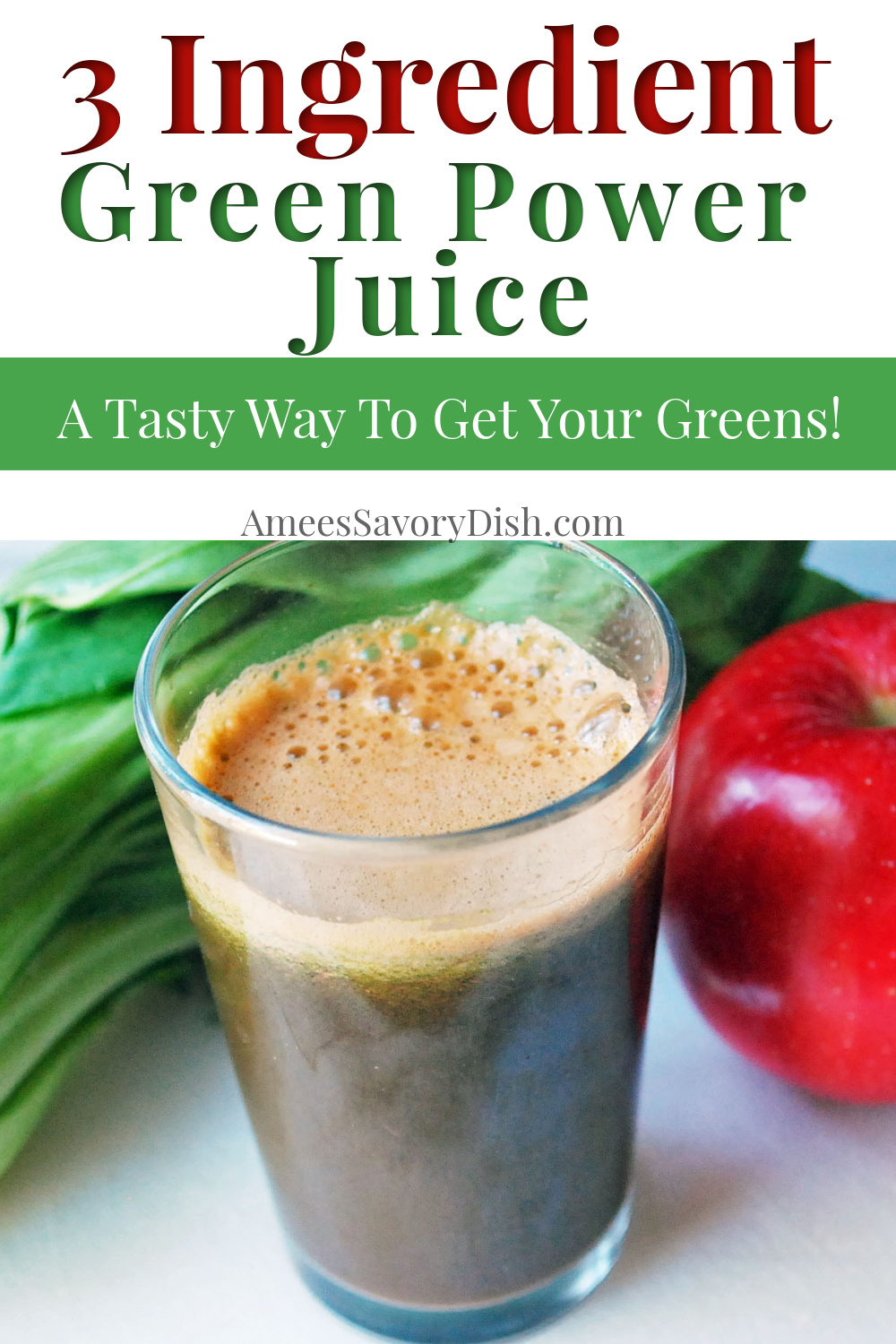 Green power juice is a healthy real-food green juice recipe with just 3 wholesome ingredients, packed with nutrients, and tastes great, too! #juicing #greenjuice #juicingrecipe via @Ameessavorydish