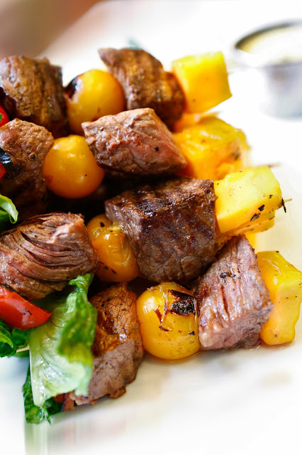 Sirloin Cobb Kebabs - a healthy twist on a Cobb salad that are SO delicious!