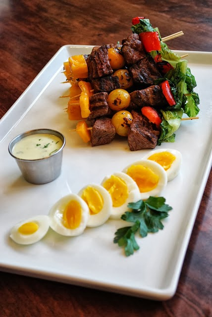 Sirloin Cobb Kebabs - a delicious and healthy twist on a Cobb salad!