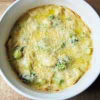 chicken broccoli casserole in a white bowl