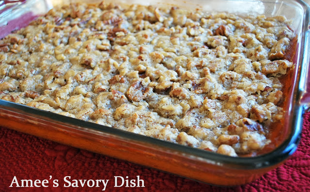 Close up photo of sweet potato casserole in a baking dish