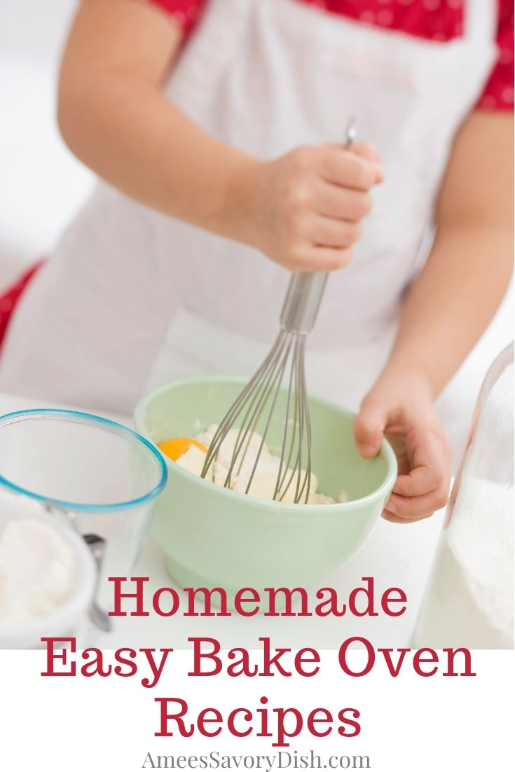 Homemade Easy-Bake Oven recipes allow your child to create delicious recipes in an Easy-Bake Oven, without spending money on expensive prepackaged mixes. #easybakeovenrecipes #bakingforkids #easybakeoven #easybakeovenmixes #recipesforkids via @Ameecooks