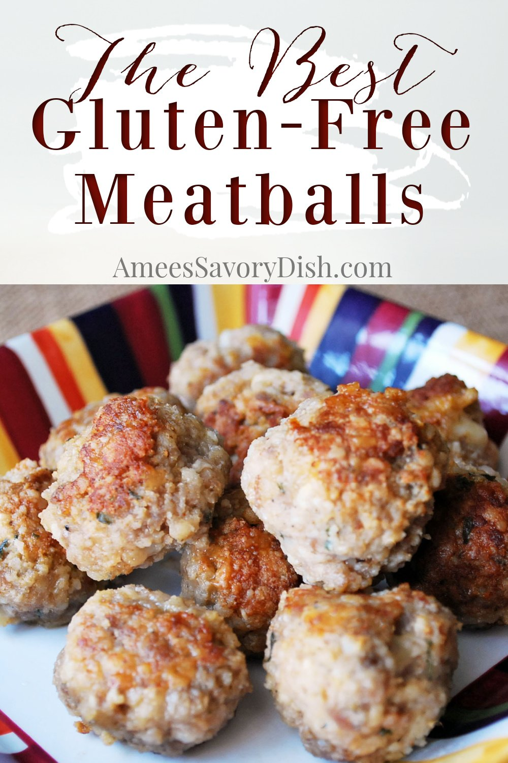 A simple and delicious recipe for Italian meatballs made with a mixture of lean grass-fed beef, ground pork, and mild Italian sausage. #glutenfreemeatballs #meatballs #beefrecipe #glutenfreeItalian #Italianfood via @Ameessavorydish