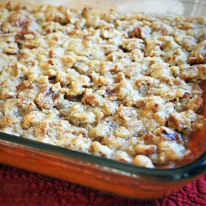 sweet potato casserole topped in a baking dish ready to serve