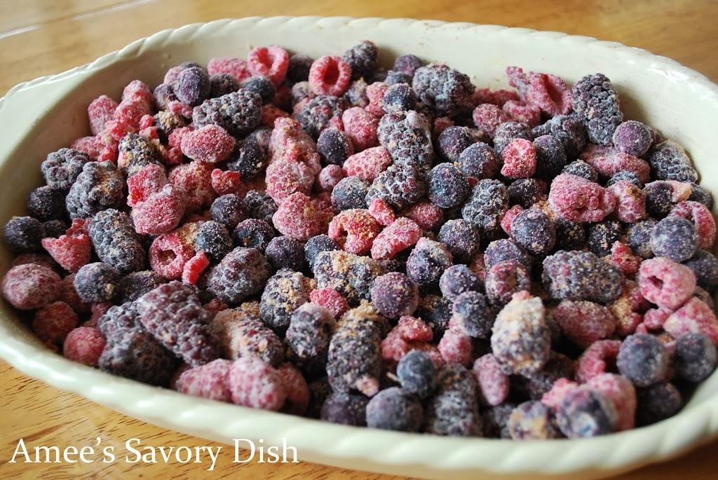 Frozen fruit blend of raspberries, blackberries, and blueberries