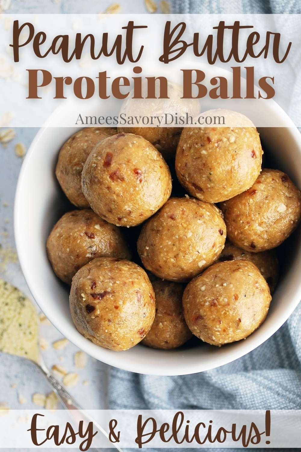When you need a boost of energy, try this easy recipe for peanut butter protein balls with dates made with oats, coconut, dates, peanut butter, hemp seeds, flaxseed, coconut oil, and honey. #proteinballs #energybites #healthysnacks #peanutbutterballs #blissballs #energyballs via @Ameessavorydish