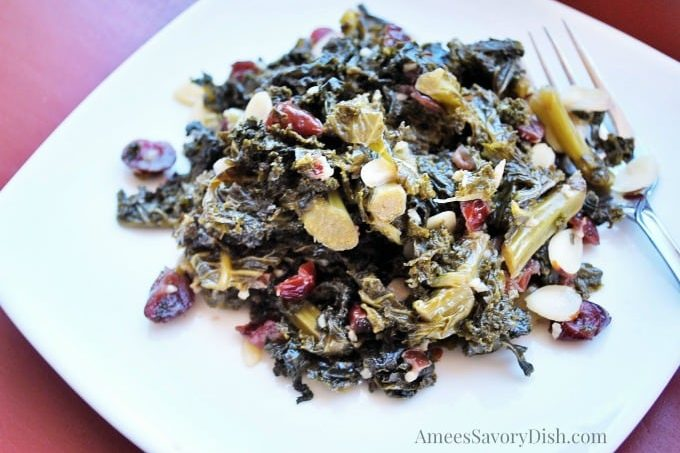 Sweet and Sour Kale with Cranberries and Almonds