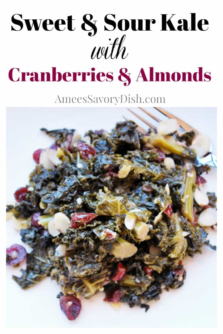Sweet & Sour Kale with Cranberries and Almonds recipe