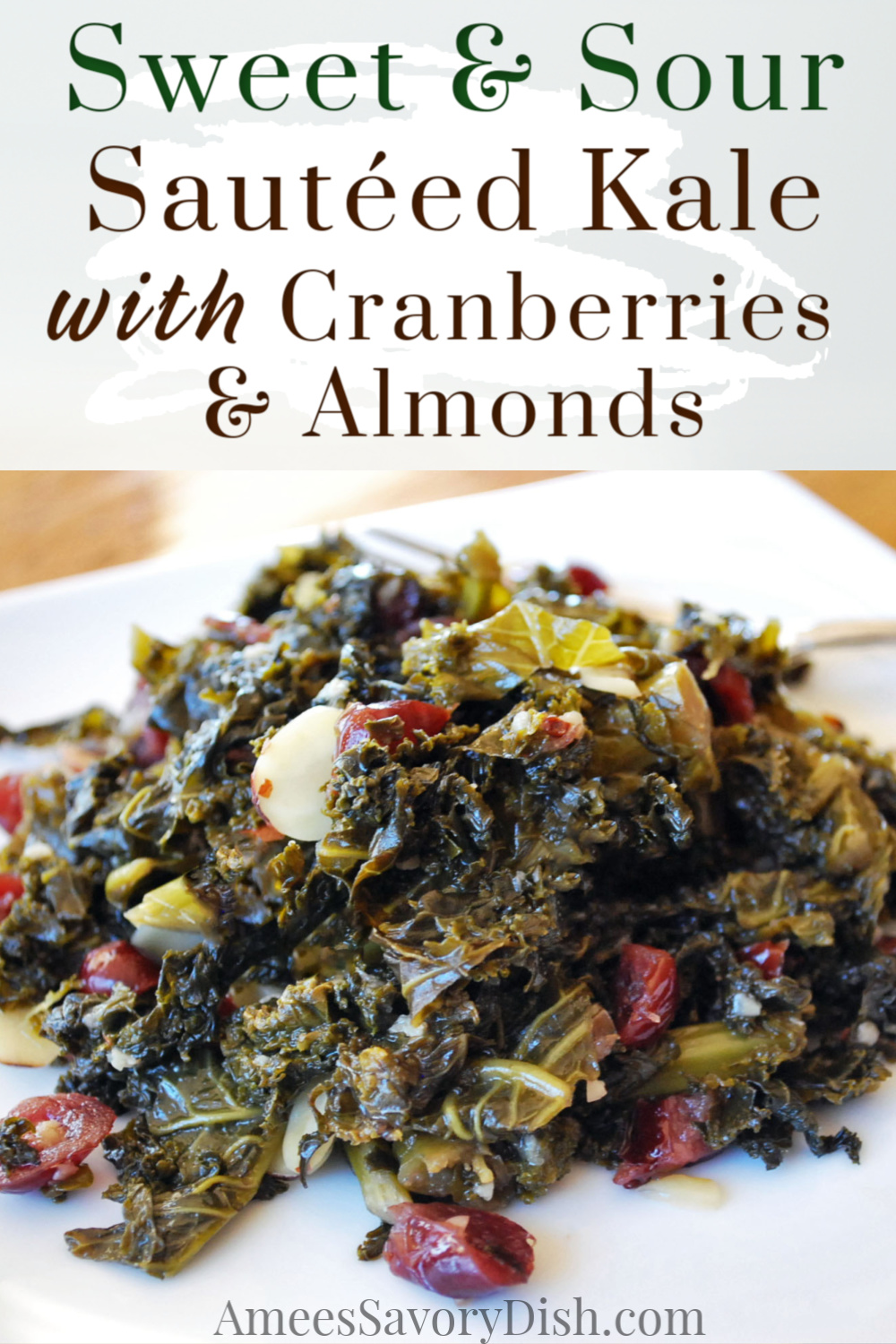 Sweet and sour kale greens area delicious, healthy, and easy kale side dish, packed with superfood nutrients. Fresh cranberries and crunchy almonds provide the perfect contrast in texture and flavor to this healthy side dish recipe! #sautéedkale #kalerecipe #easysidedish #healthysidedishes via @Ameecooks
