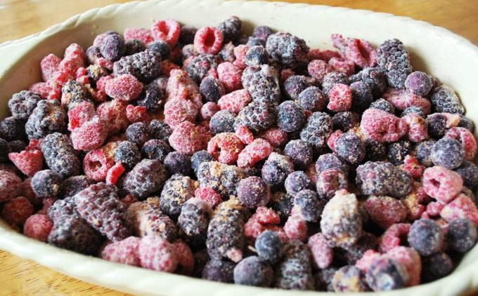 Frozen fruit blend of raspberries, blackberries, and blueberries for easy berry crumble