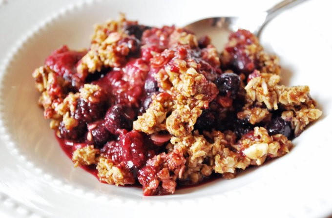 Easy berry crumble made with frozen fruit and oats