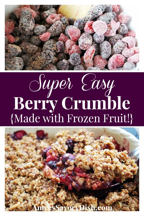 This easy berry crumble is a baked fruit dessert, using a blend of frozen blueberries, blackberries and raspberries with a tasty crumbled oat topping. via @Ameessavorydish