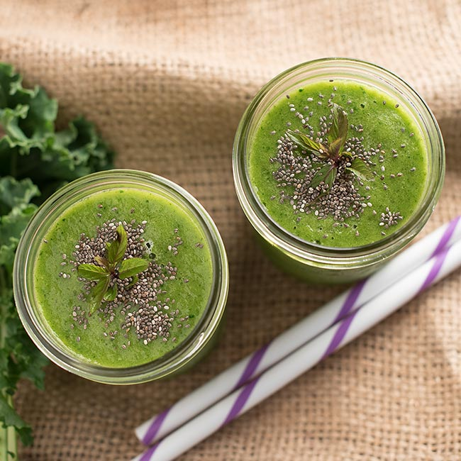 Tropical Kale Green Tea Smoothie from My Wife Can Cook