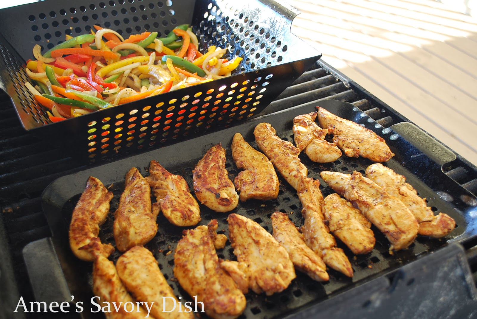 Grilled Chicken Fajitas cooking on a grill