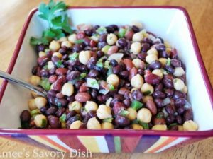 Mexican bean salad is a healthy side dish, full of fiber and flavor! This easy bean salad recipe uses 3 types of beans, crisp vegetables and Mexican spices.