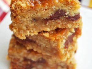 Gluten-Free Oatmeal Carmelita bars on a plate