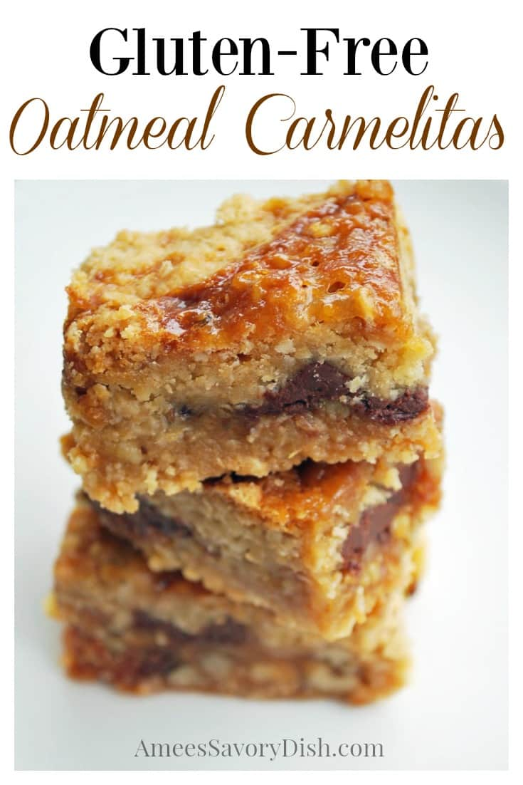 Gluten-free oatmeal Carmelita bars are chewy oatmeal bars with creamy caramel, chocolate, and crunchy pecans. This easy gluten-free bar cookies recipe makes the perfect after school snack or gluten-free dessert. #carmelitabars #carmelitas #glutenfreebarcookie #glutenfreedessert #glutenfreecarmelitas via @Ameecooks