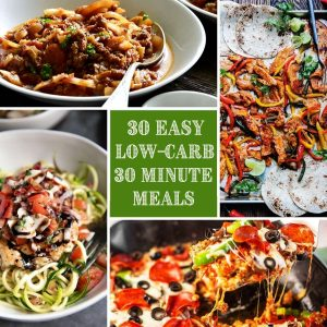 low carb recipe collage with post title in the middle