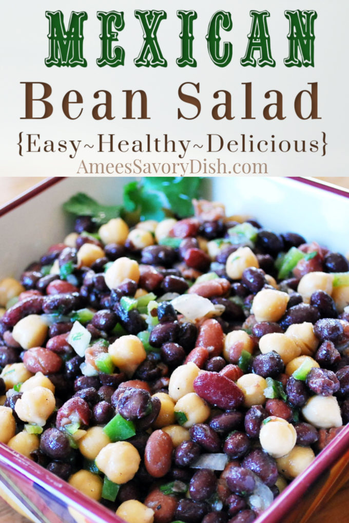 bowl of three bean salad with peppers and Mexican spices
