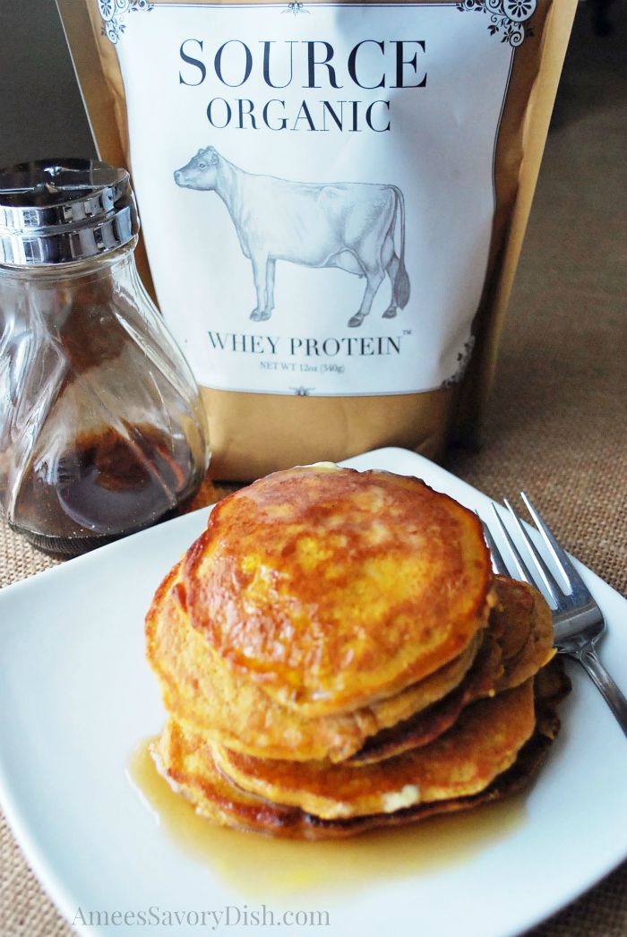 Pumpkin Flax Pancakes, syrup, and a bag of whey protein
