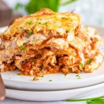 low carb lasagna on a plate