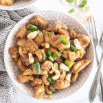keto cashew chicken in a white bowl