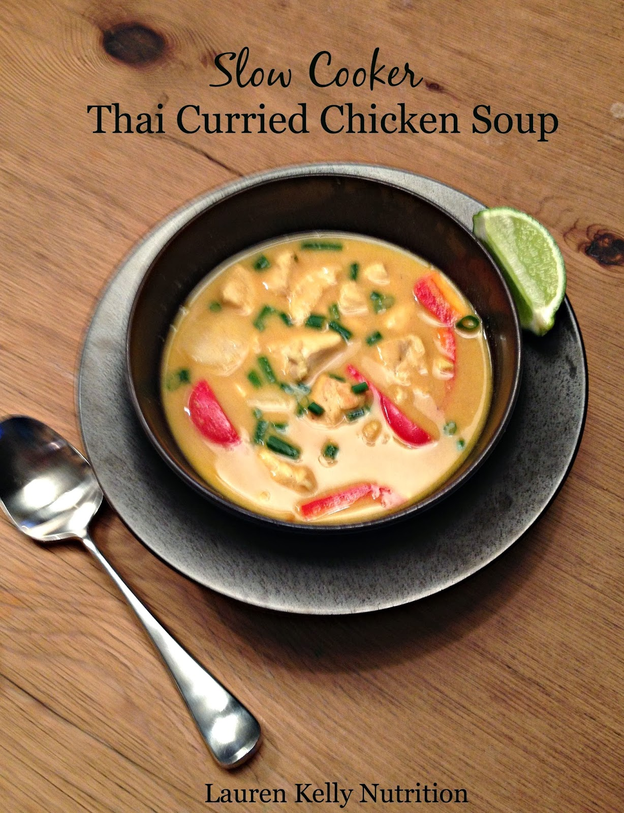 Fast healthy meal ideas include this Slow Cooker Thai Curried Chicken Soup