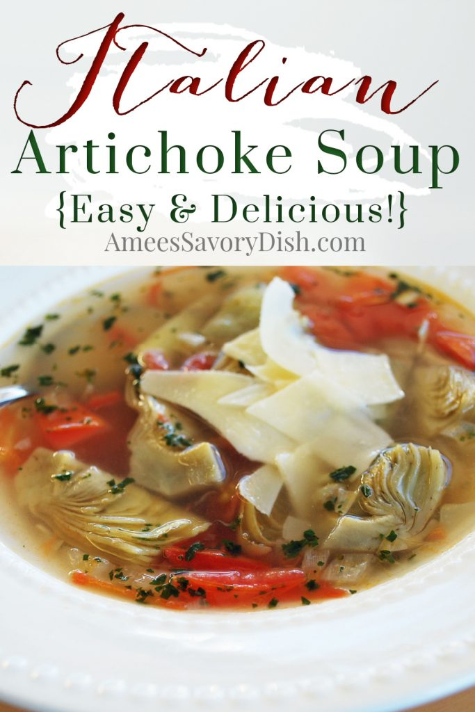 artichoke soup bowl with cheese on top and font overlay for Pinterest