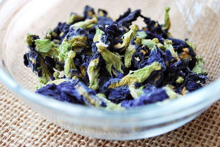 bowl of dried butterfly pea blossoms