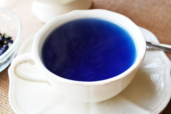 cup of freshly brewed butterfly pea flower tea